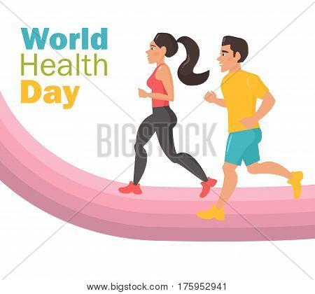World health day. Man and woman run on the track. Bright illustration on white background. Sports, Competition. Isolated art on white background. Vector. Cartoon. Flat. Poster