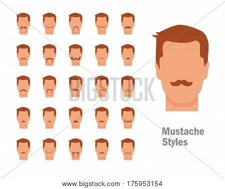 Set with various types of mustaches. Style. Big, small, flat, short, curly, pyramidal. Isolated art on white background Vector Cartoon Flat