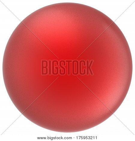 Red sphere round button ball basic matted scarlet circle geometric shape solid figure simple minimalistic atom single drop object blank balloon icon design element. 3D render illustration isolated