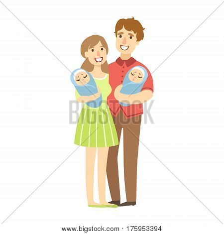 Young Parents Holding Newborn Twins In Arms, Illustration From Happy Loving Families Series. Smiling Cartoon Characters Together With Their Family Members Vector Drawing.