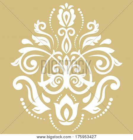 Oriental vector golden and white pattern with arabesques and floral elements. Traditional classic ornament. Vintage pattern with arabesques