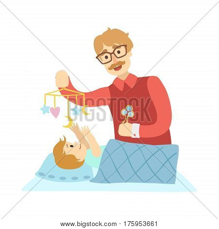 Young Father Putting Baby To Sleep In Bed, Illustration From Happy Loving Families Series. Smiling Cartoon Characters Together With Their Family Members Vector Drawing.