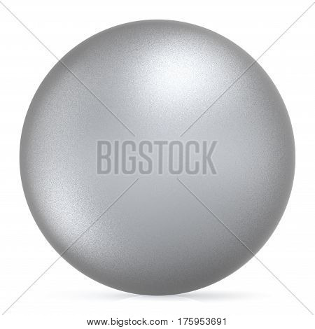 Sphere round button white silver ball basic matted metallic circle geometric shape solid figure simple minimalistic atom single object blank balloon icon design element. 3D illustration isolated