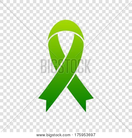 Black Awareness Ribbon Sign. Vector. Green Gradient Icon On Transparent Background.