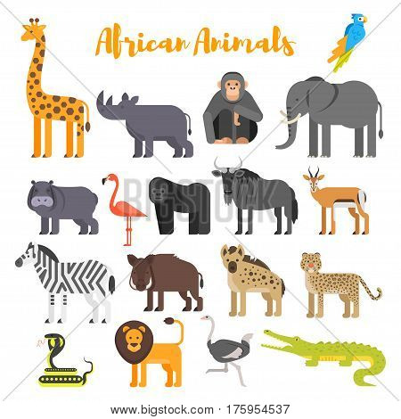 Vector flat style set of African animals. Icon for web. Isolated on white background.