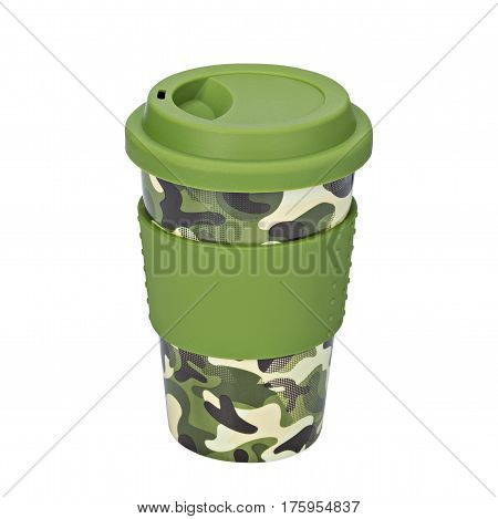 Mug of thermos, Camouflage mug, on isolated white background