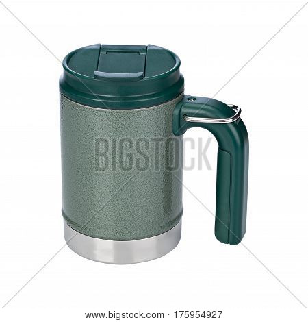 Mug of thermos, green mug, on isolated white background