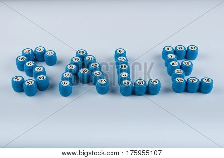 Word sale consist of blue lotto kegs with different numbers on white background