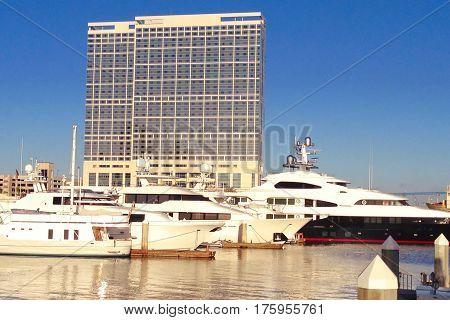 Hotel marina on San Diego Bay in San Diego.