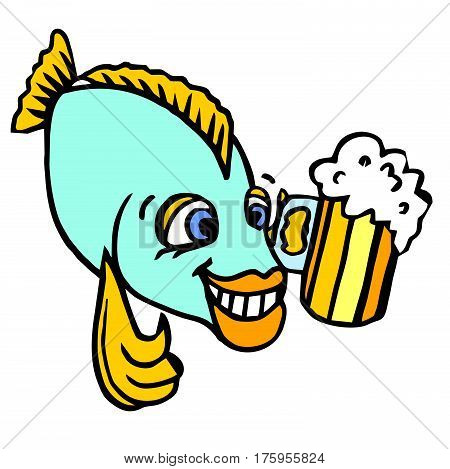 A joyful character for advertising. A happy funny fish holding a mug of pivots shows a thumbs-up.Illustration for a pub cafe bar restaurant.