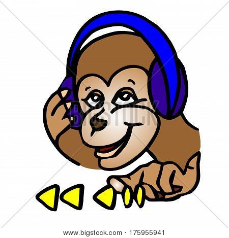 A funny cartoon monkey is listening to music on headphones. She presses the playlist on the display. Funny character.