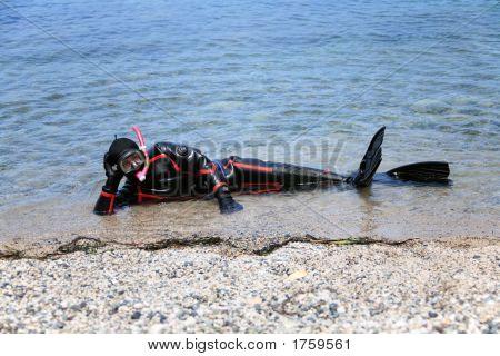Man Dressed In Neoprene Dry Suit Ready For Snorkel