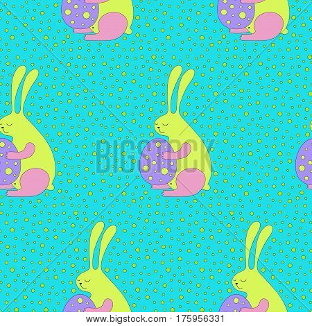 Cartoon Easter bunny pattern with bunnies and eggs. Cute vector colorful Easter bunny pattern. Seamless cheerful Easter bunny pattern for fabric, wrapping paper, cards and web backgrounds.