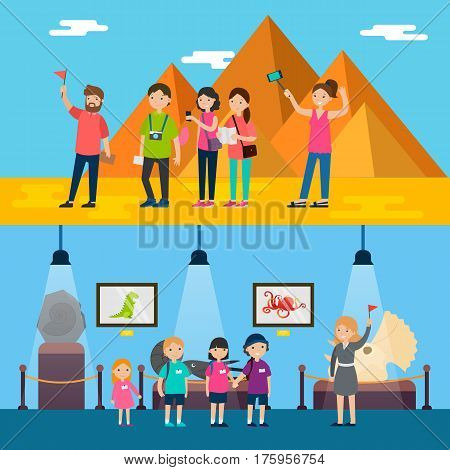 People on excursion horizontal banners with tourists attending egyptian sightseeing and children visiting historical museum vector illustration