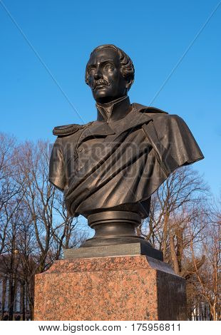 St. Petersburg, Russia - March 5, 2017: Monument to the poet Lermontov in the park in front of the Main Admiralty. Close-up.