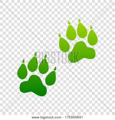 Animal Tracks Sign. Vector. Green Gradient Icon On Transparent Background.
