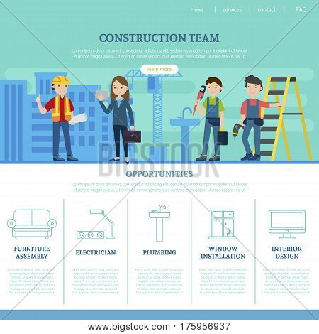 Construction team web page template with specialists and list of services provided by professional workers vector illustration