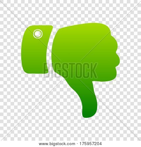 Hand Sign Illustration. Vector. Green Gradient Icon On Transparent Background.