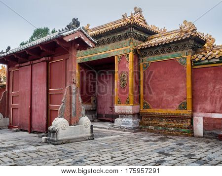 Beijing, China - Oct 30, 2016: Ornate double gate system near the Gate of Heavenly Purity, or Celestial Purity (Qianqingmen). Forbidden City (Gu Gong, Palace Museum).