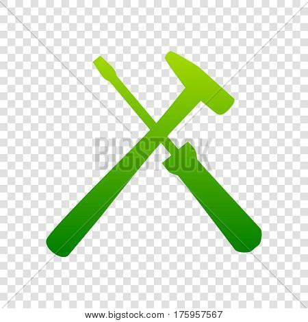 Tools Sign Illustration. Vector. Green Gradient Icon On Transparent Background.