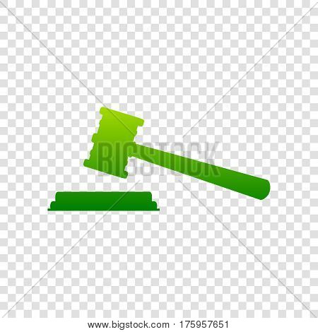 Justice Hammer Sign. Vector. Green Gradient Icon On Transparent Background.