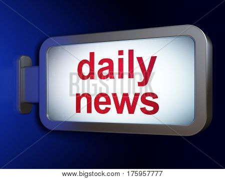 News concept: Daily News on advertising billboard background, 3D rendering