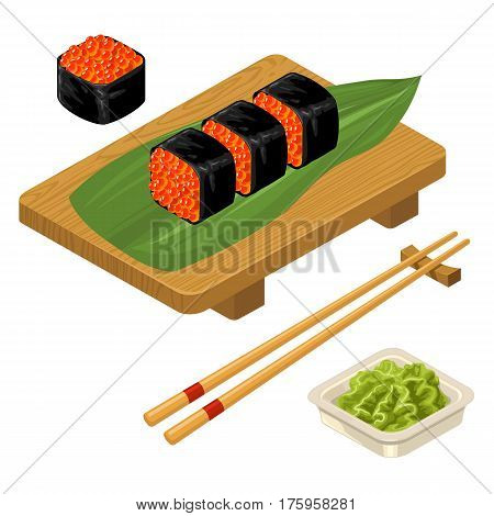 Sushi roll with caviar chopsticks wasabi in bowl and wood board. Isolated on white background. Vector flat color illustration. For icon and menu