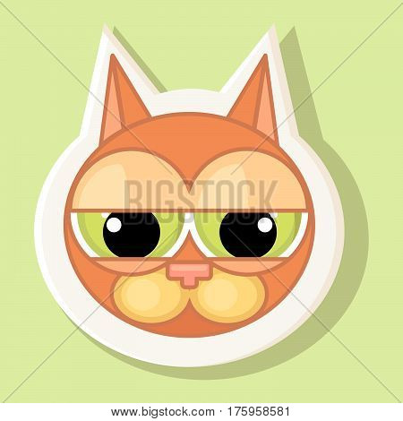 Volumetric sticker with the depicted cat in cartoon style isolated on a simple background the image of a cat with a contour. Emotion of guilt.