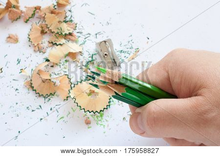 Hand holding five green wooden sharpened pencils over white table
