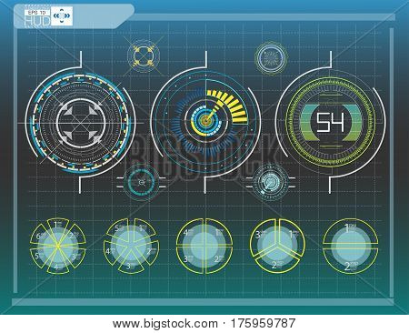 Hud elementsgraph.Vector illustration.Head-up display elements for the web.
