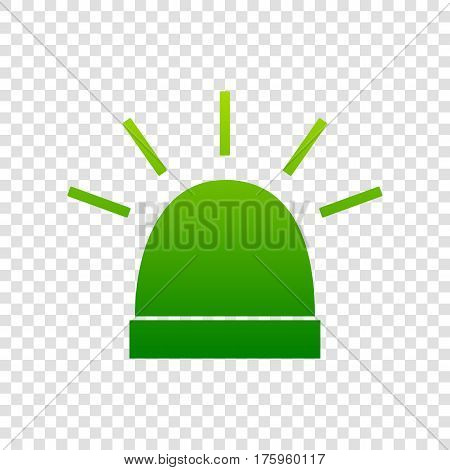 Police Single Sign. Vector. Green Gradient Icon On Transparent Background.