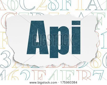 Database concept: Painted blue text Api on Torn Paper background with  Hexadecimal Code