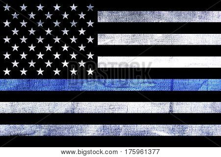 A police and law enforcement support flag background with a textured grunge background and thin blue line.