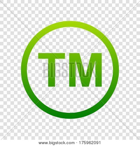 Trade Mark Sign. Vector. Green Gradient Icon On Transparent Background.