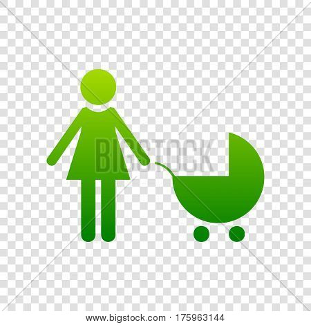 Family Sign Illustration. Vector. Green Gradient Icon On Transparent Background.