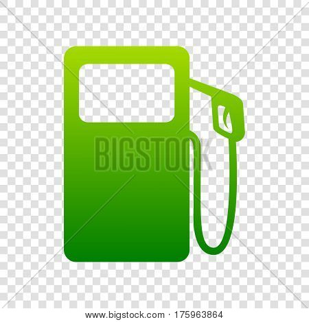 Gas Pump Sign. Vector. Green Gradient Icon On Transparent Background.