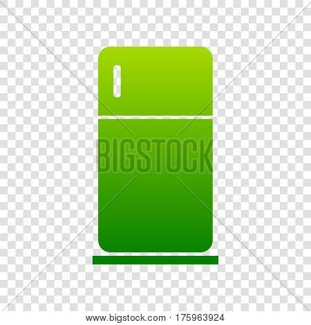Refrigerator Sign Illustration. Vector. Green Gradient Icon On Transparent Background.