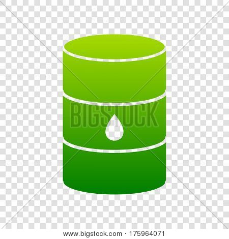Oil Barrel Sign. Vector. Green Gradient Icon On Transparent Background.