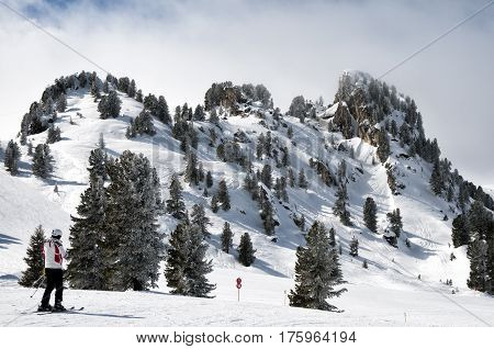 Forest skiing country in Mayrhofen-Hippach Zillertal Arena