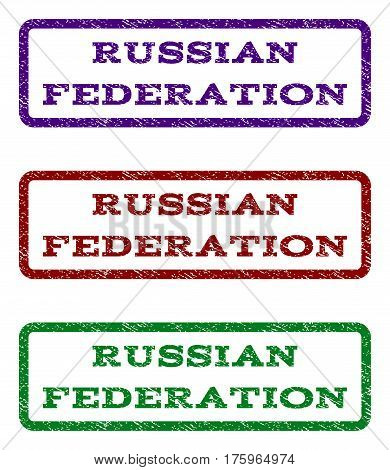 Russian Federation watermark stamp. Text tag inside rounded rectangle with grunge design style. Vector variants are indigo blue, red, green ink colors. Rubber seal stamp with dust texture.