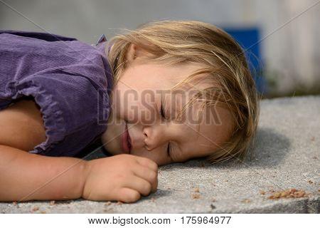 close-up portrait of a beautiful sleeping child