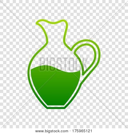 Amphora Sign. Vector. Green Gradient Icon On Transparent Background.