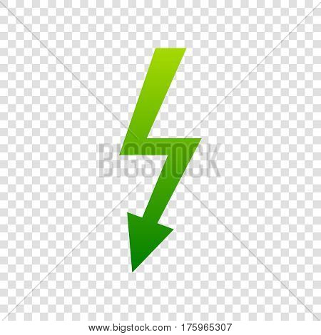High Voltage Danger Sign. Vector. Green Gradient Icon On Transparent Background.