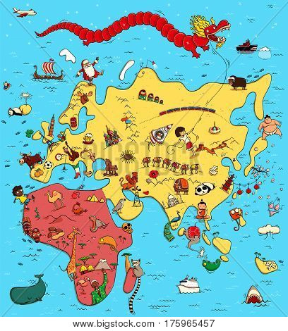 Illustrated Map of Europe Asia and Africa. With funny and typical objects people activities animals plants history etc. Illustration in eps10 vector continents on separate layer.