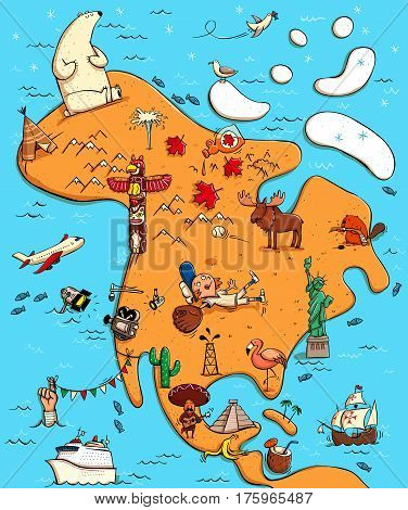 Illustrated Map of North America. With funny and typical objects people activities animals plants history etc. Illustration in eps10 vector continent on separate layer.