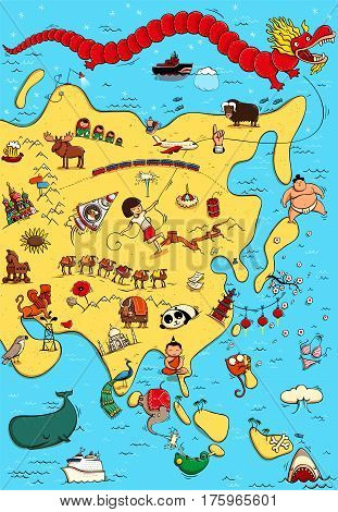 Illustrated Map of Asia. With funny and typical objects people activities animals plants history etc. Illustration in eps10 vector continent on separate layer.