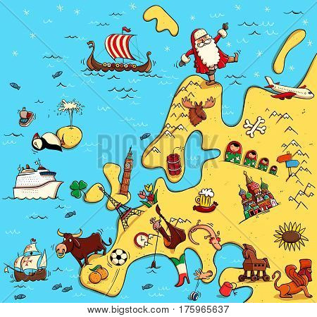 Illustrated Map of Europe. With funny and typical objects people activities animals plants history etc. Illustration in eps10 vector continent on separate layer.