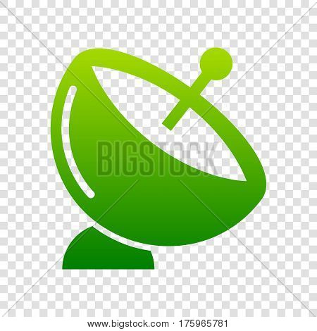 Satellite Dish Sign. Vector. Green Gradient Icon On Transparent Background.