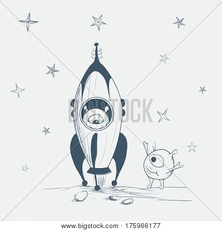 alien startup on a rocket to space.Cute humanoid wished good luck to him.Hand drawn vector illustration