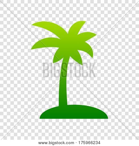 Coconut Palm Tree Sign. Vector. Green Gradient Icon On Transparent Background.